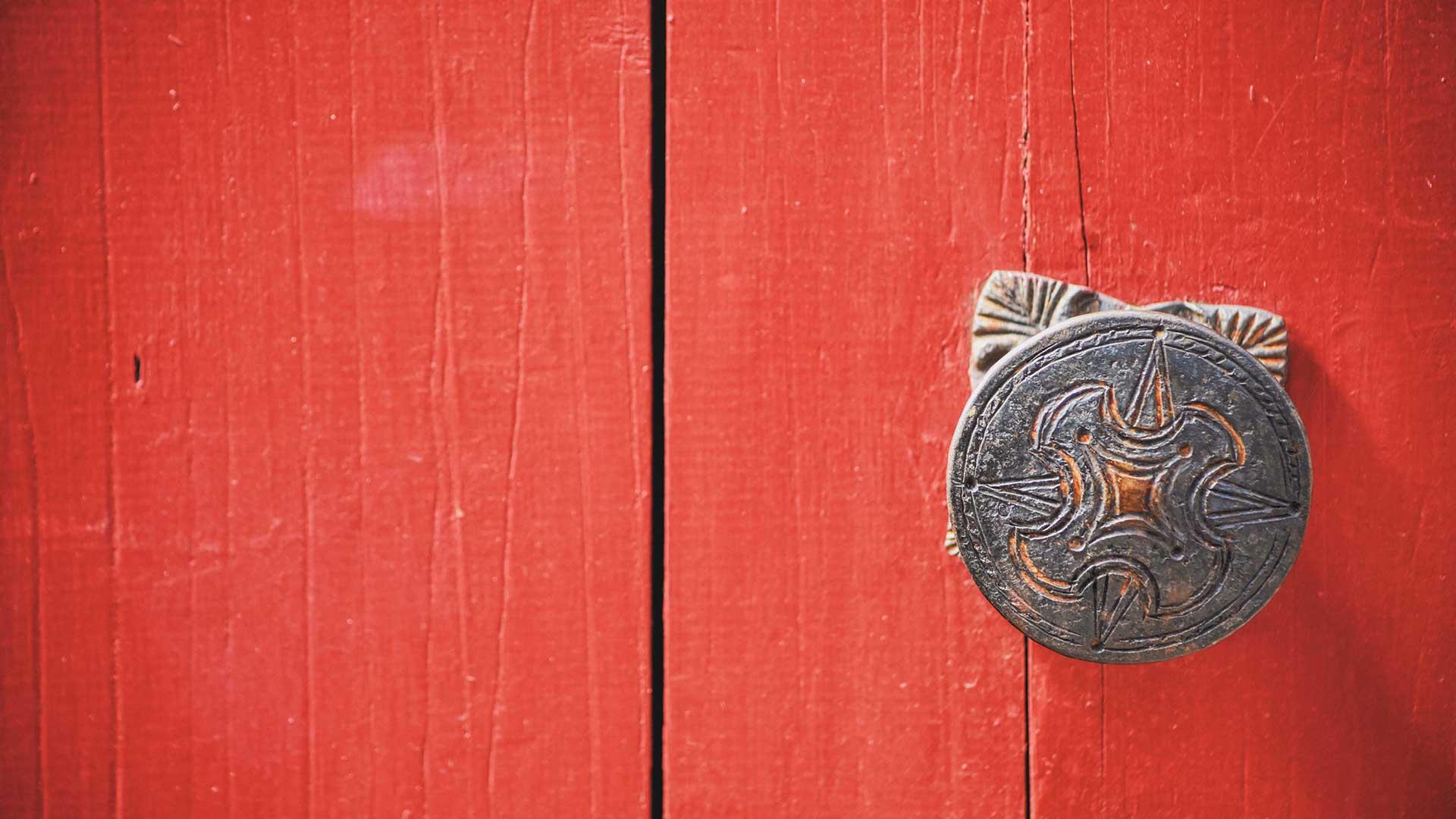 Red door with knob