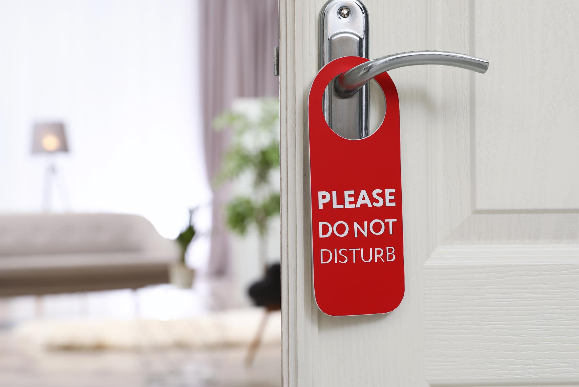 Hotel door with do not disurb